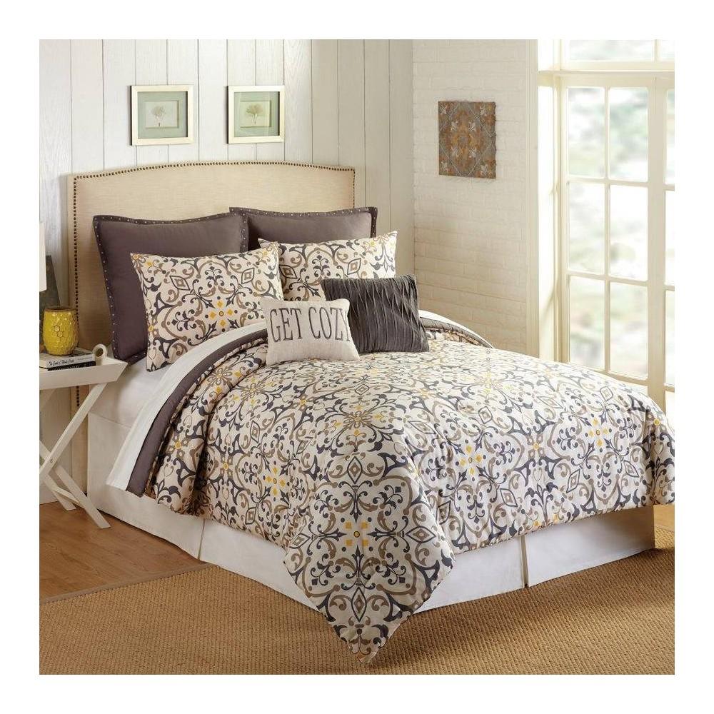 Image of Presidio Square King 7pc Madrid Comforter & Sham Set Ivory/Blue, Gray Beige Multicolored