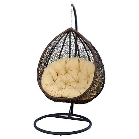 Newport Outdoor Wicker Swing Chair Yellow Brown Abbyson Living