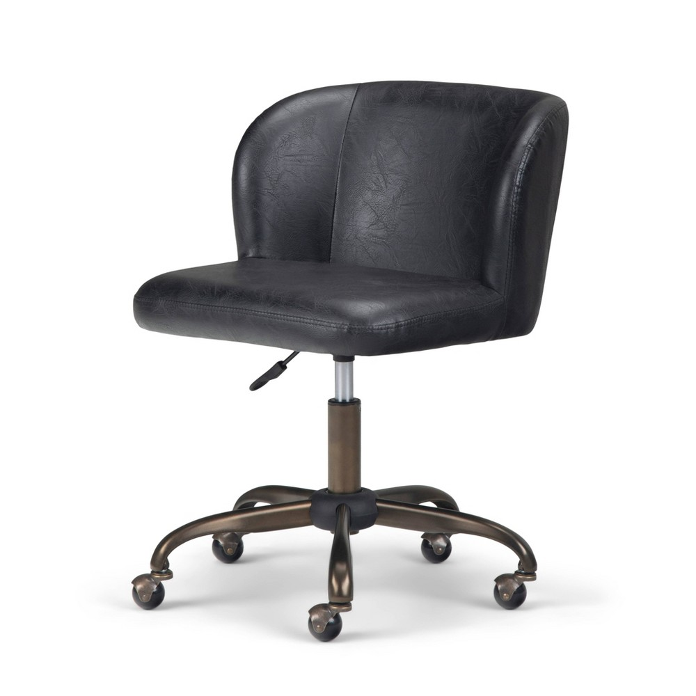 Higgins Swivel Office Chair Distressed Black Wyndenhall