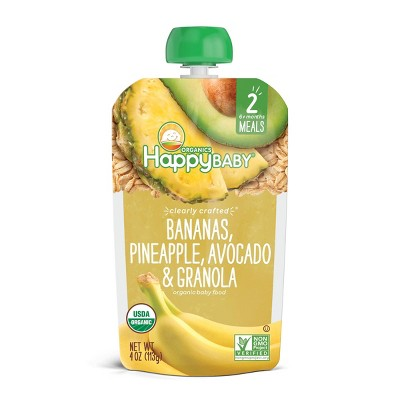 HappyBaby Clearly Crafted Bananas Pineapple Avocado & Granola Baby Meals - 4oz