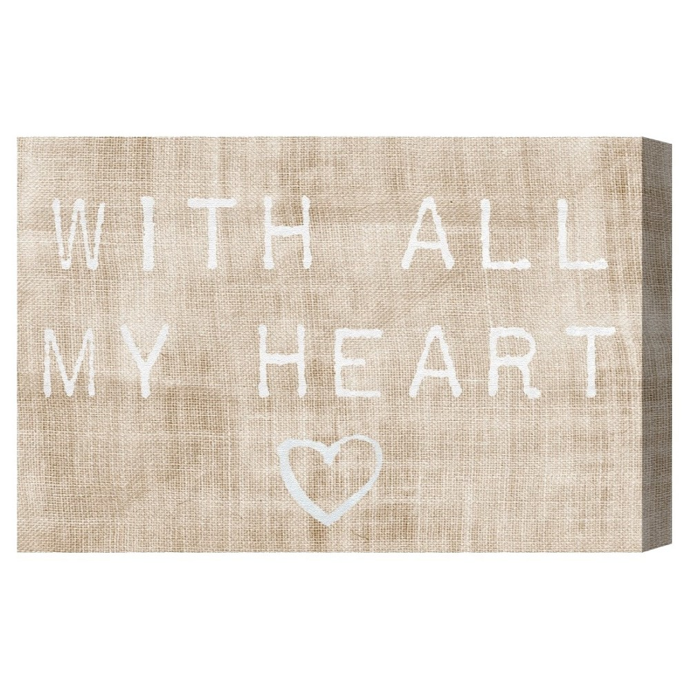 """Image of """"Oliver Gal Unframed Wall """"""""With All My Heart"""""""" Canvas Art (24x16), Brown"""""""