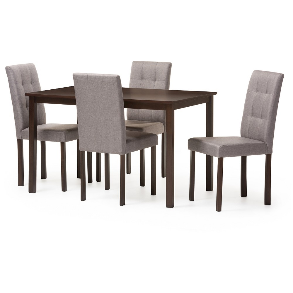Andrew Modern & Contemporary 5-Piece Fabric Upholstered Grid-tufting Dining Set - Dark Brown & Gray - Baxton Studio