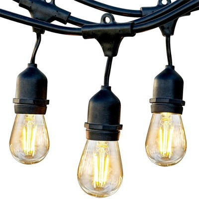 Brightech Ambience Pro Outdoor String Lights with 16 Hanging Sockets & Black LED Edison Bulb for Outside, Backyard, Cafe, Patio, or Porch, 48 Foot