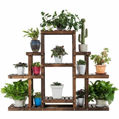 Costway 6-Tier Flower Wood Stand Plant Display Rack Multifunctional Storage Shelf