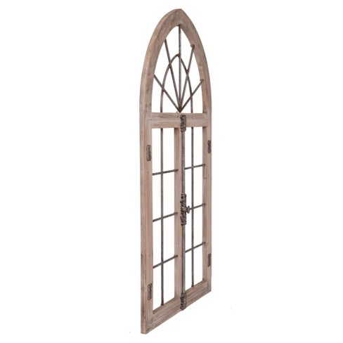 53x28 Distressed Arched Cathedral Window Frame Wall Gray Patton Wall Decor