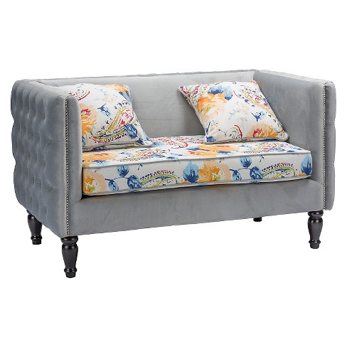 Penelope Velvet and Paisley-Floral Loveseat Gray - Baxton Studio - image 1 of 7