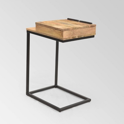 Rankin Industrial C-Shaped Accent Table Natural - Christopher Knight Home