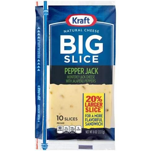 Kraft Big Slice Pepper Jack Cheese Slices - 8oz/10ct - image 1 of 2