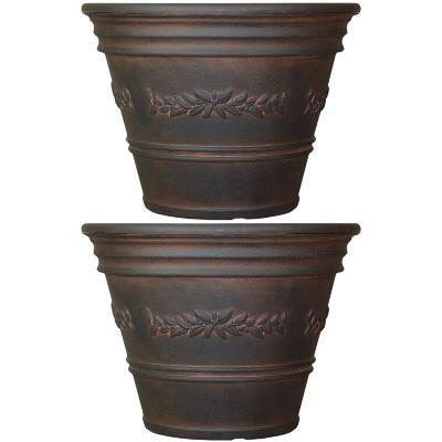 "Sunnydaze Indoor/Outdoor Patio, Garden, or Porch Weather-Resistant Double-Walled Laurel Flower Pot Planter - 13"" - Rust Finish - 2pk"