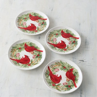 "Sullivans Set of 4 Cottage Christmas Plate 1""H Red"