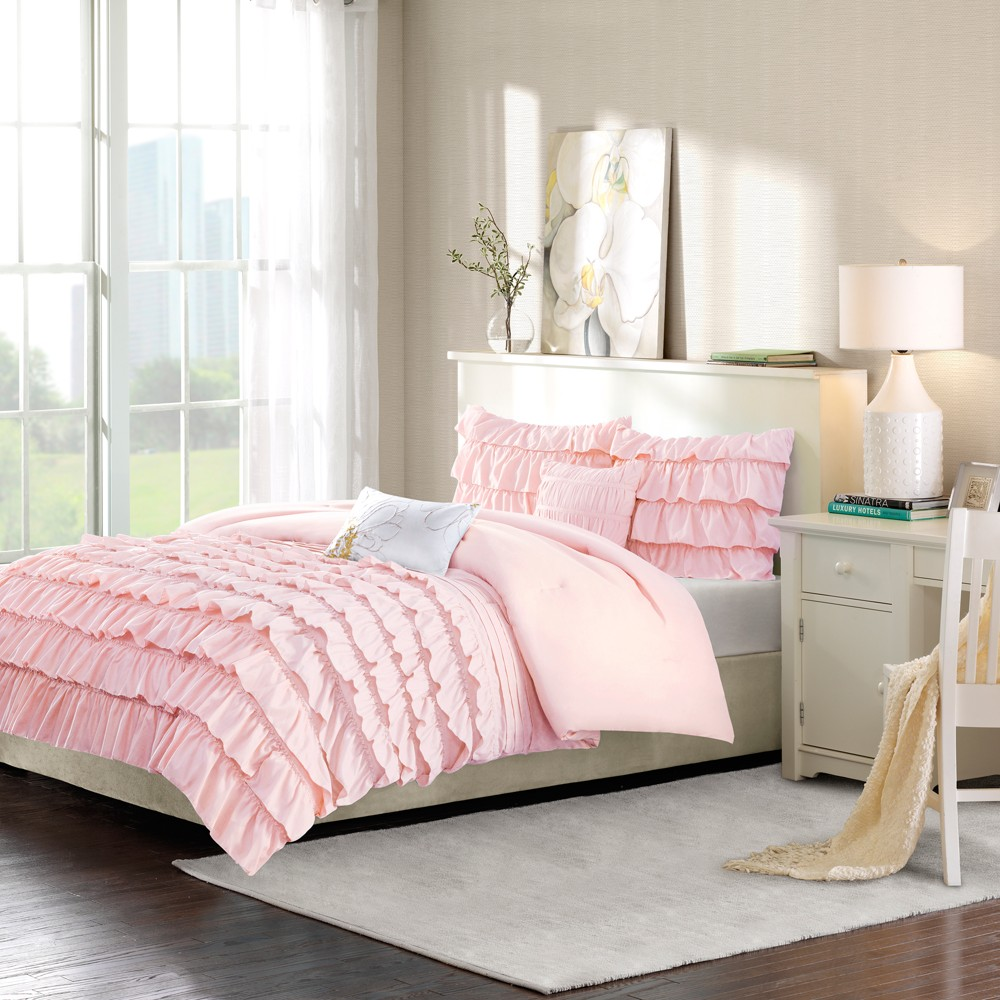 Image of 5pc Full/Queen Marley Solid Comforter Set Blush