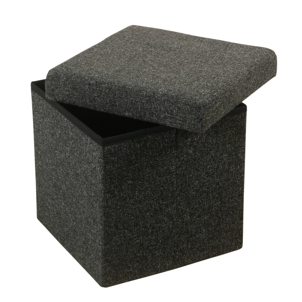 "Image of ""15"""" Square Collapsible Storage Ottoman Dark Gray - HomePop"""
