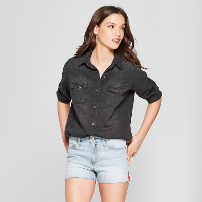 Women's Western Denim Long Sleeve Shirt   Universal Thread Dark Gray Wash by Universal Thread Dark Gray Wash