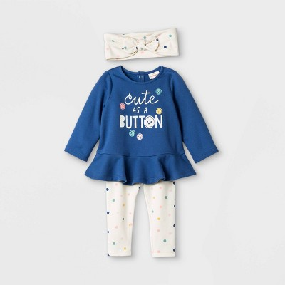Baby Girls' 'Cute as a Button' Top & Bottom Set with Headband - Cat & Jack™ Navy 0-3M