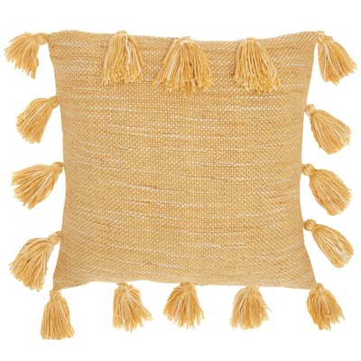"""18""""x18"""" Life Styles Woven with Tassels Throw Pillow Mustard - Mina Victory"""