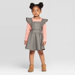 Toddler Girls' Long Sleeve T-Shirt and Striped Pinafore Set - art class™ Pink/Black