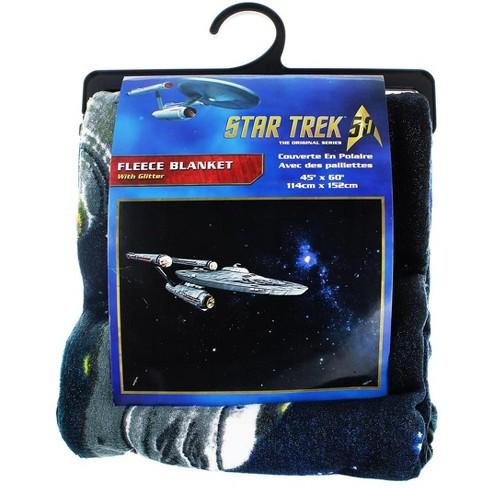 Just Funky Star Trek Enterprise Glitter Lightweight Fleece Throw Blanket | 45 x 60 Inches - image 1 of 1