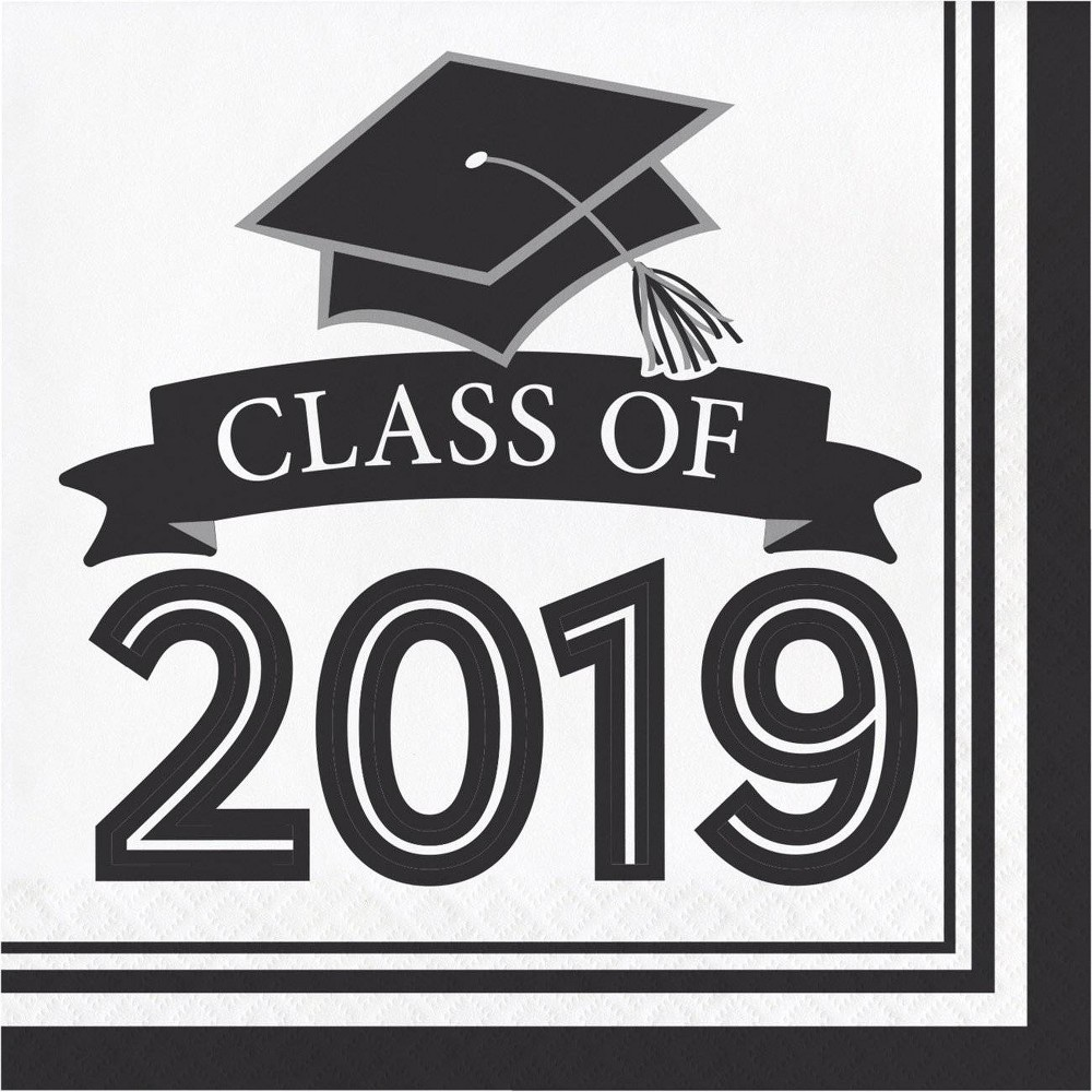 "Image of ""108ct """"Class Of 2019"""" Disposable Napkins Black/White"""
