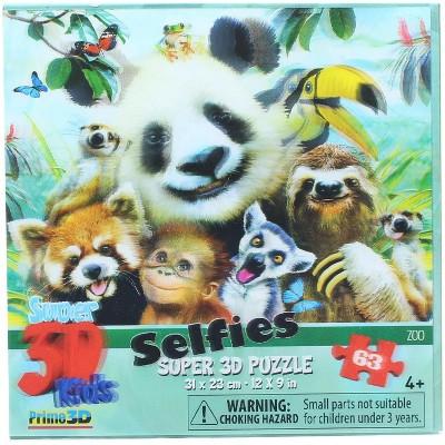 The Zoofy Group LLC Zoo Selfie 63 Piece Super 3D Kids Jigsaw Puzzle