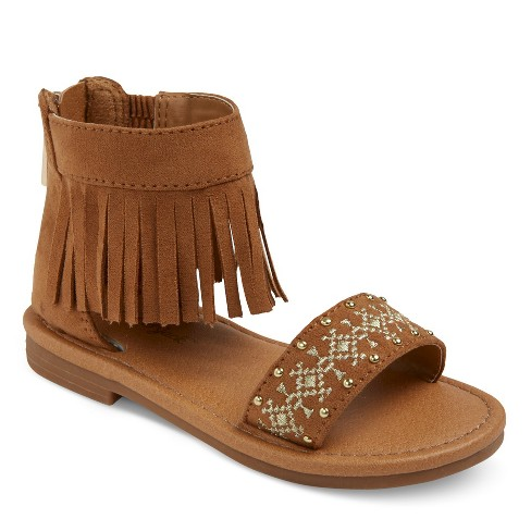 Toddler Girls' Pattie Two Piece Slide Sandals With Fringe Ankle Interest Cat & Jack™ - Brown 11 - image 1 of 4
