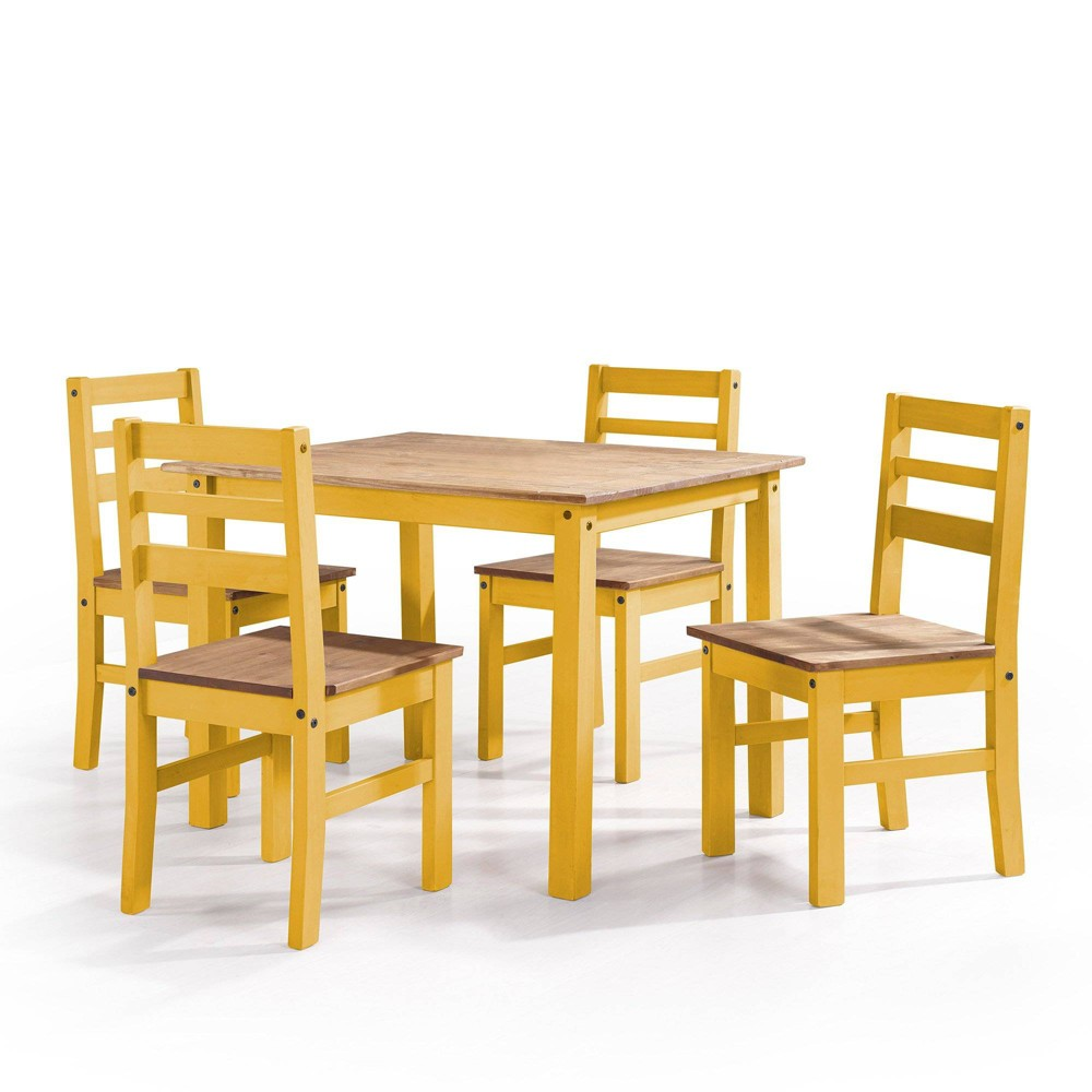 5pc Maiden Solid Wood Dining Set Yellow - Manhattan Comfort, Green