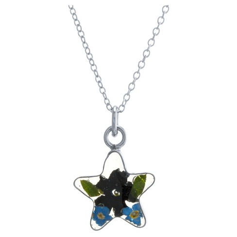"Women's Sterling Silver Pressed Flowers Small Star Pendant (18"") - image 1 of 1"