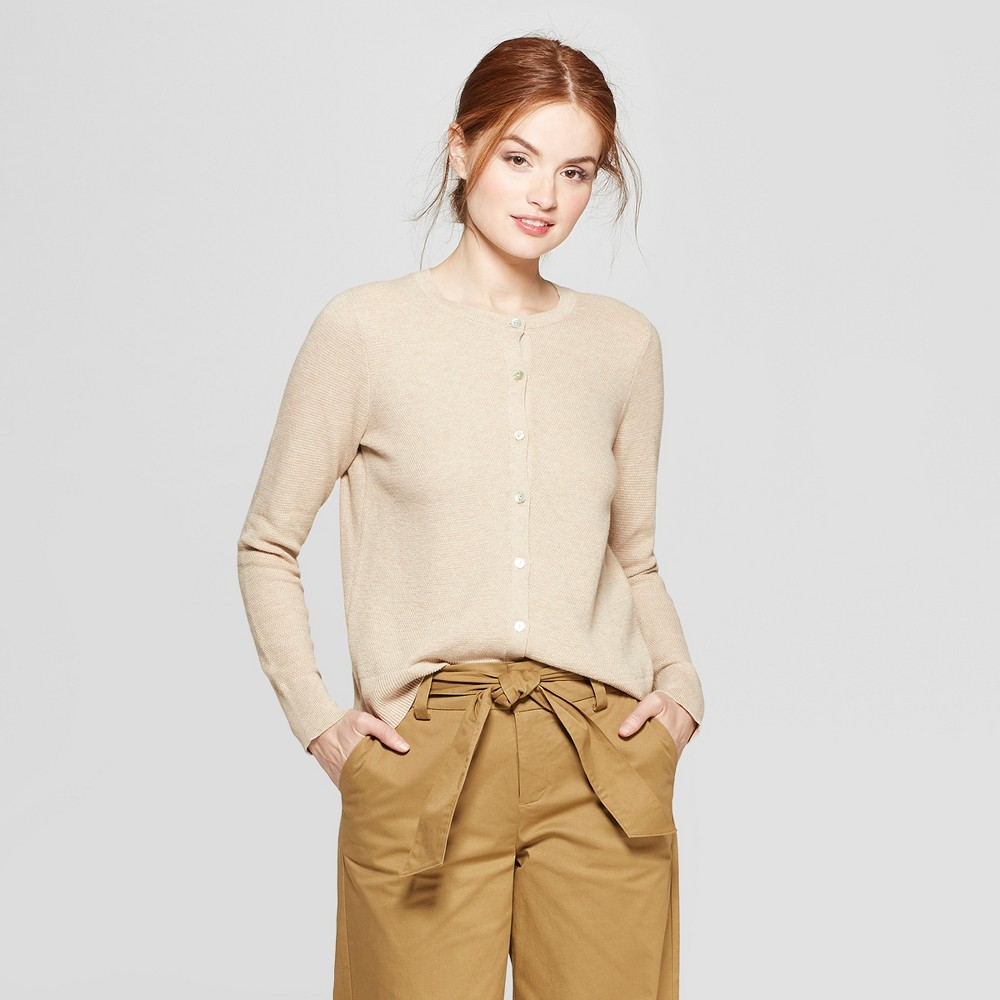 Women's Any Day Long Sleeve Cardigan - A New Day Oatmeal XS