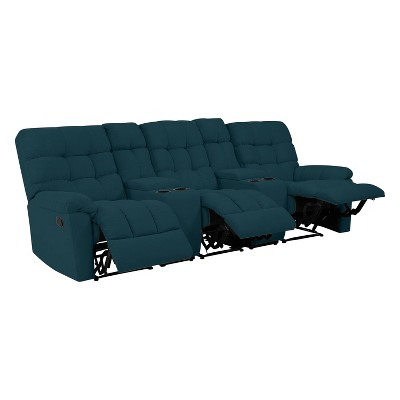 Alma 3 Seat Tufted Wall Hugger Recliner Sofa with Power Storage Console Plush Low Pile Velour Peacock Blue - ProLounger