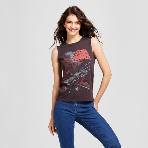 Women's Star Wars® Falcon Graphic Tank Top (Juniors') - Black - image 1 of 2