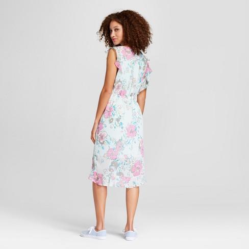 297d7d8bf7e0 Women s Floral Print Short Sleeve Ruffle Wrap Dress - A New Day™ Light Blue