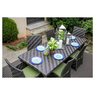 Rachel 7 Piece Dining With Sunbrella Fabric Spectrum   Cilantro