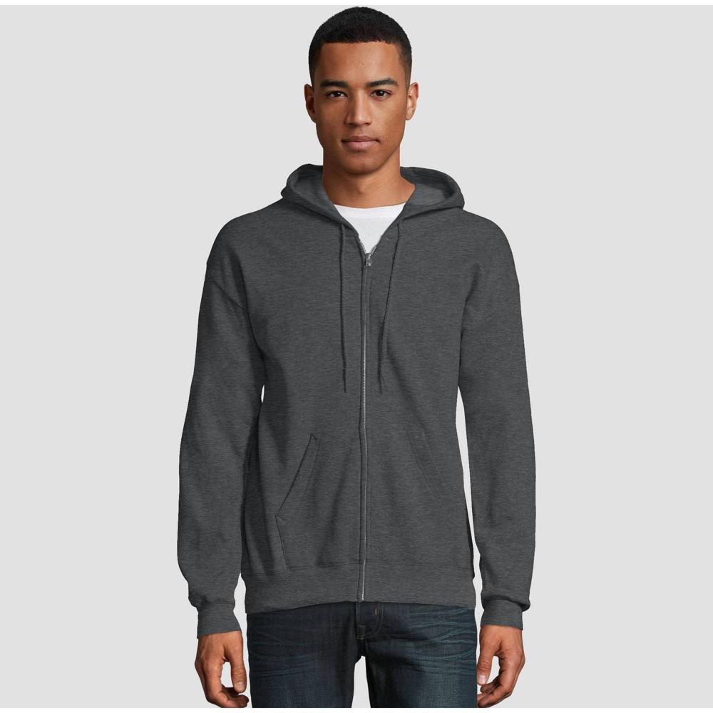 Hanes Men 39 S Ecosmart Fleece Full Zip Hooded Sweatshirt Dark Gray S