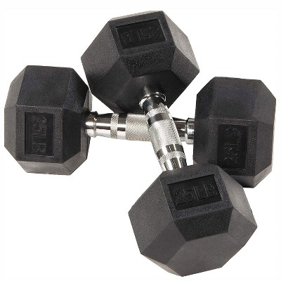 BalanceFrom Rubber Encased Hexagonal Cast Metal, Contoured Grip Strength Training Home Fitness Dumbbells Freeweight Set, 25 Pound Pair