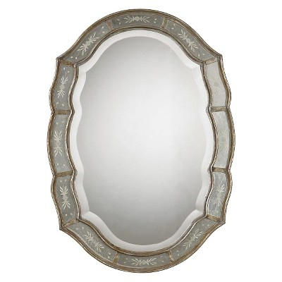 Oval Fifi Etched Decorative Wall Mirror Antique Gold - Uttermost