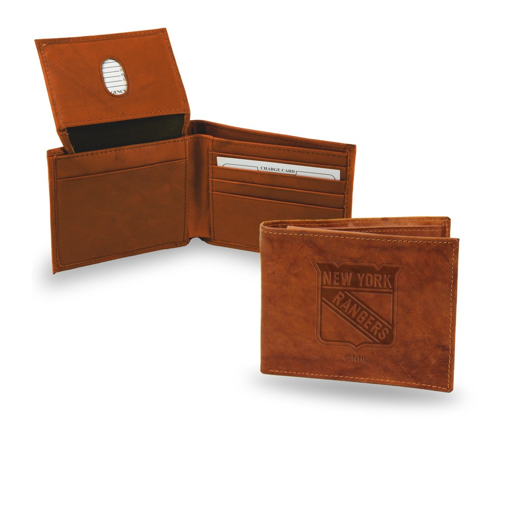 Nhl New York Rangers Rico Industries Embossed Leather Billfold Wallet