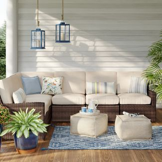 Halsted 5pc Patio Conversation Sectional Set - Linen - Threshold™