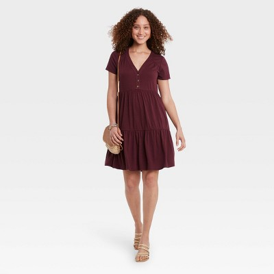 Women's Short Sleeve Button-Front Knit Tiered Babydoll Dress - Knox Rose™