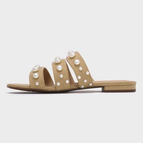 ca2305ff41c9 Women s Clara Pearl Three Band Slide Sandals - Who What Wear™ Tan 9.5    Target