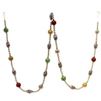 """Christmas 72.0"""" Candy Stripe Glass Garland Red Green Gold Glass  -  Banners And Garlands"""