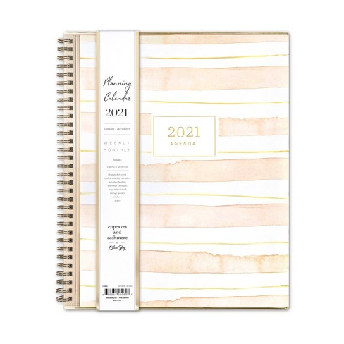 """2021 Planner Clear Pocket Cover 8.5"""" x 11"""" Weekly/Monthly Wirebound Peach Stripes - cupcakes and cashmere for Blue Sky - image 1 of 4"""