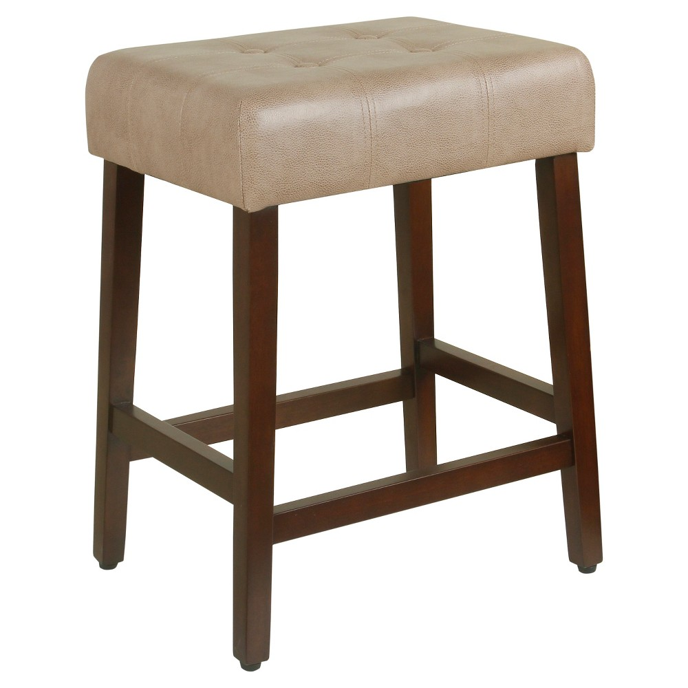 Tufted Faux Leather Counter Stool Taupe Brown - Homepop was $89.99 now $67.49 (25.0% off)