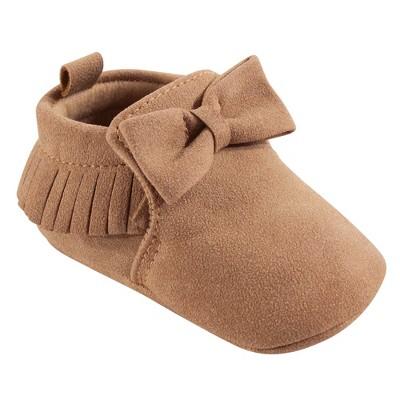 Hudson Baby Infant Girl Moccasin Shoes, Tan