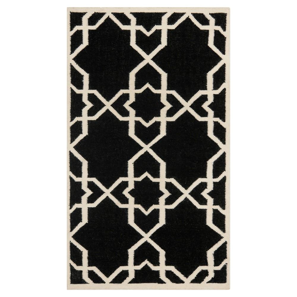 Tahla Dhurry Rug Black Ivory 3 X5 Safavieh