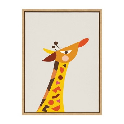 "18"" x 24"" Sylvie Mid Century Modern Baby Giraffe Framed Canvas by Rachel Lee Natural - Kate and Laurel"