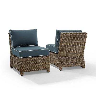 Bradenton 2pc Outdoor Wicker Chairs - Weathered Brown/Navy - Crosley