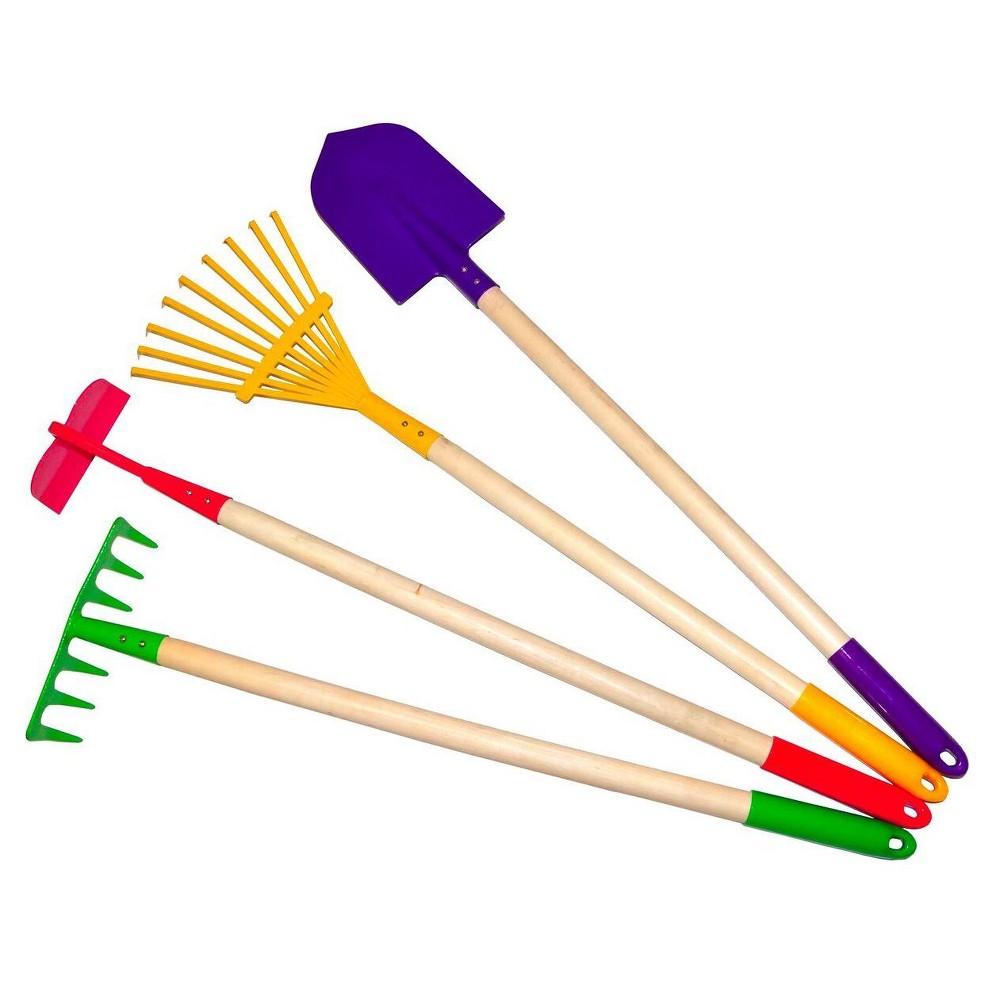 Image of Kids Garden Tools Set, Rake, Spade, Hoe and Leaf Rake -Justforkids