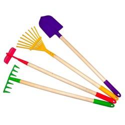 Kids Garden Tools Set, Rake, Spade, Hoe and Leaf Rake -Justforkids