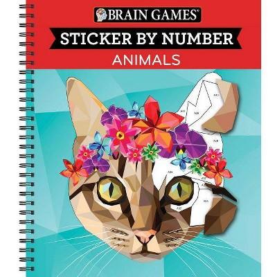 Brain Games Sticker by Number Animals - (Spiral_bound)