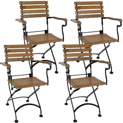 Sunnydaze Indoor/Outdoor Patio or Dining Essential European Chestnut Wooden Folding Bistro Arm Chair - Brown - 4pk