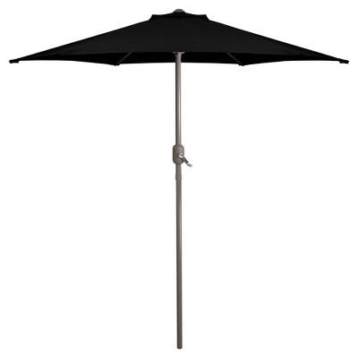 Northlight 7.5ft Outdoor Patio Market Umbrella with Hand Crank, Black